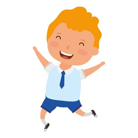 cute little blond student boy character vector illustration design