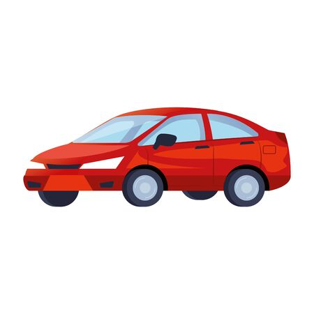 red sedan car vehicle transport icon vector illustration design