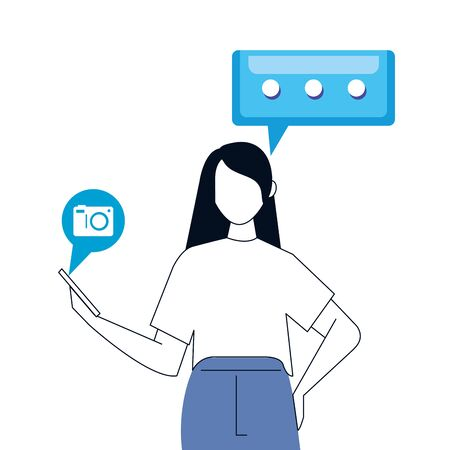 woman and smartphone with social media icons, concept of online communication on white background vector illustration design