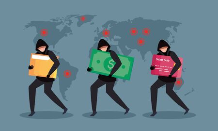 group hacker attacking during covid 19 pandemic and world map vector illustration design