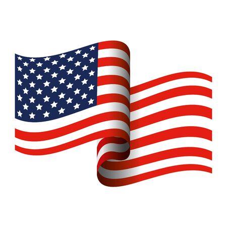 drapeau de l'état-uni d'amérique sur fond blanc conception d'illustration vectorielle Vecteurs