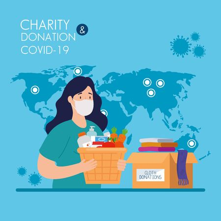 woman with cardboard donation boxes, social care, during coronavirus 2019 ncov vector illustration design