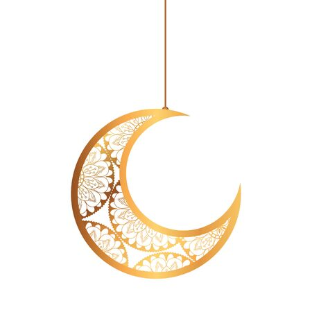 eid celebration ornament on white background, moon hanging vector illustration design