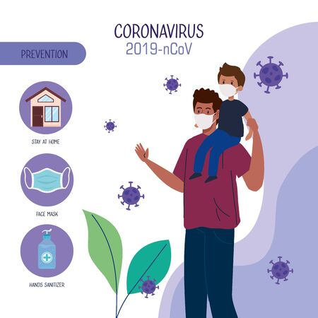 prevention of coronavirus 2019 ncov, father and son wearing protective medical mask vector illustration design Illusztráció