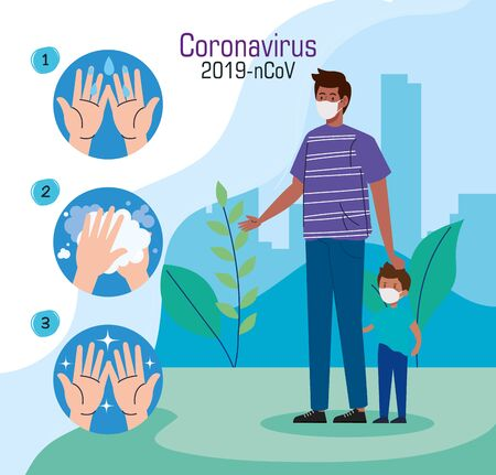 father and son wearing protective medical mask in landscape during virus covid 19 vector illustration design