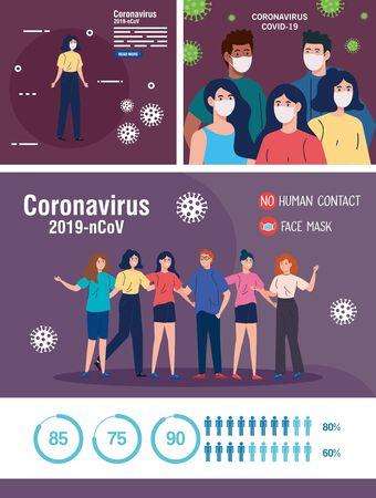 set scenes, people using face mask and campaigns prevention coronavirus covid 19 vector illustration design