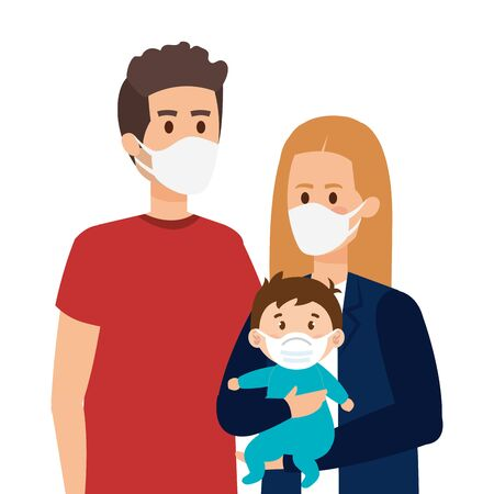 parents with baby using face mask vector illustration design