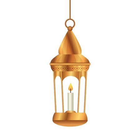 ramadan kareem lantern golden hanging , arab islam culture decoration on white background vector illustration design