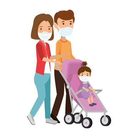 parents using face mask with daughter in baby cart vector illustration design