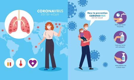 set scenes, prevention coronavirus 2019 ncov, father and daughter, woman using medical mask vector illustration design