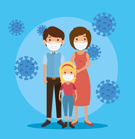 parents with daughter using face mask and particles covid 19 vector illustration design
