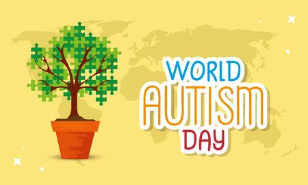 world autism day with tree of puzzle pieces vector illustration design