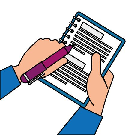 hands with notebook and pen isolated icon vector illustration design