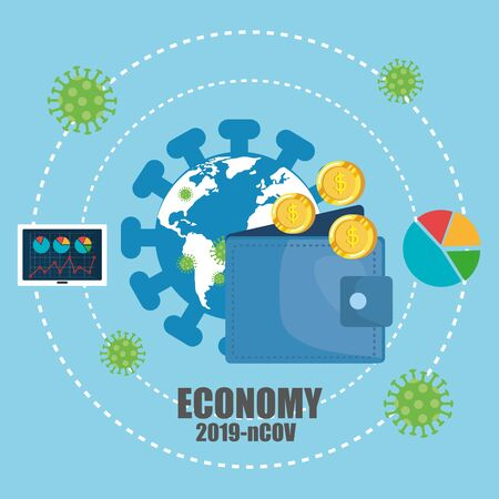 economy impact by 2019 ncov with wallet and icons vector illustration design