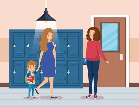 mother with boy student and woman teacher with books in the classroom vector illustration