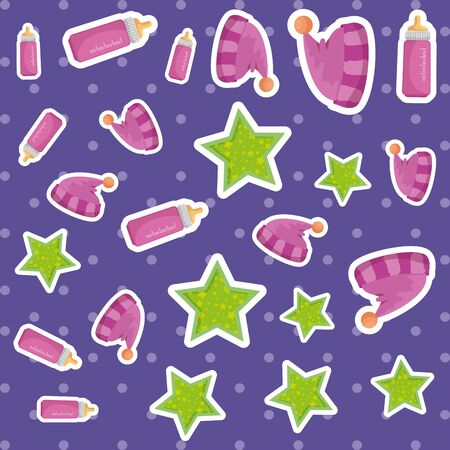 baby milk bottle with hats and stars pattern vector illustration design