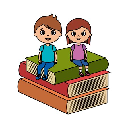 little kids students couple with books vector illustration design