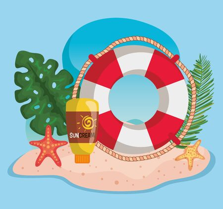 float with suncream and leaves plants with starfishes to summer time vector illustration