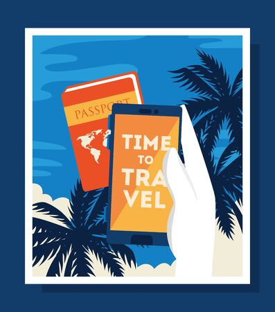 time travel poster with passport and icons vector illustration design