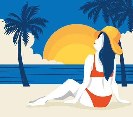 travel poster with woman in beach landscape vector illustration design Ilustracja