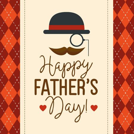 happy fathers day card with hipster accessories decoration vector illustration design