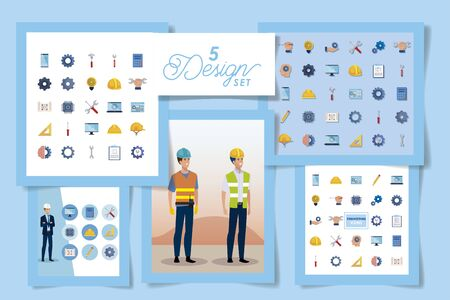 set designs of engineer men with set icons working vector illustration design