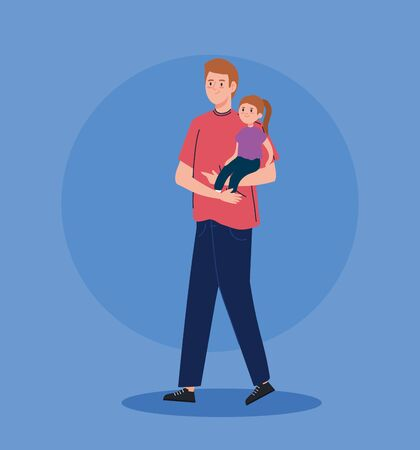 father carrying daughter avatar character vector illustration design