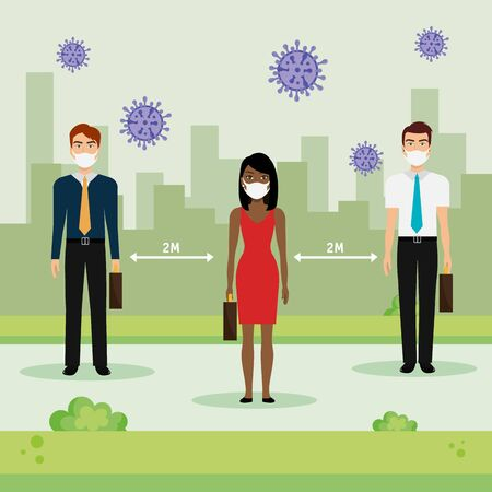 campaign of social distancing for 2019 ncov with business people vector illustration design