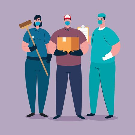 workers group using medical masks for covid 19 pandemic vector illustration design