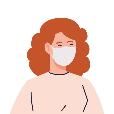 woman using medical protective mask against covid 19 vector illustration design 矢量图像