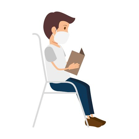 man sitting in chair using face mask with paper vector illustration design