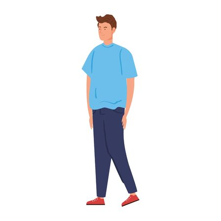 young man handsome with casual clothes on white background vector illustration design 向量圖像