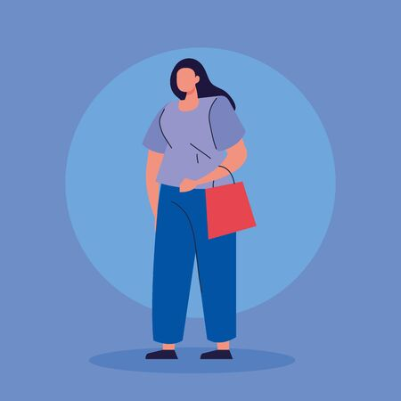 beautiful woman with bag shopping avatar character vector illustration design 向量圖像