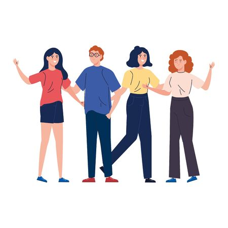 man and women together, happy, people, happiness and friendship, male and female characters vector illustration design
