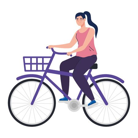 pretty young woman in bike on white background vector illustration design Ilustracja