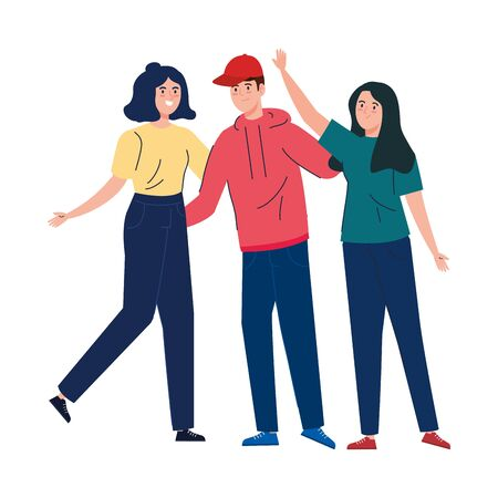 man and women together, happy, people, happiness and friendship, male and female characters vector illustration design Ilustracja