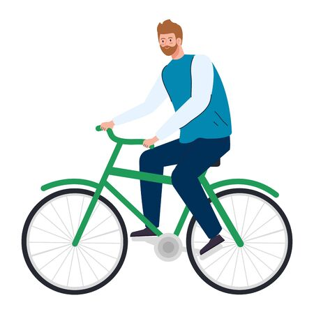 young man in bike on white background vector illustration design