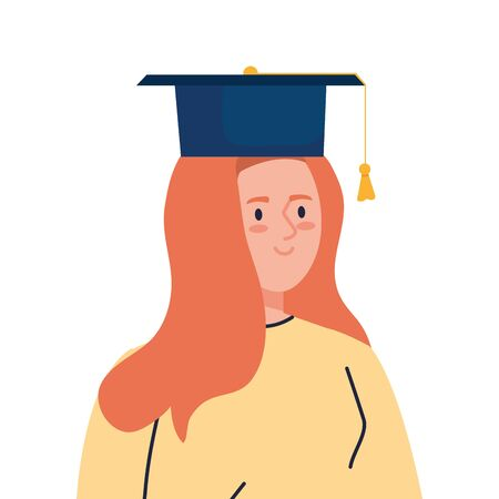 woman excited with graduation hat, cheerful female graduate on white background vector illustration design