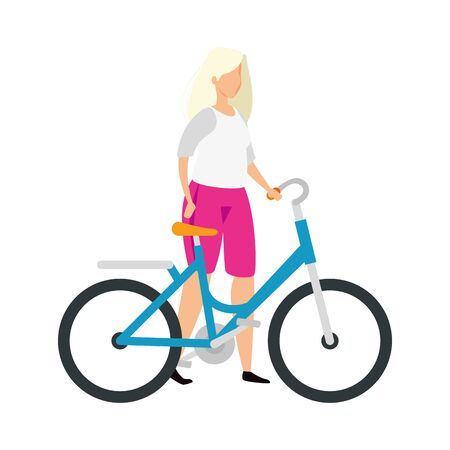 beautiful woman with blonde hair and bike vector illustration design