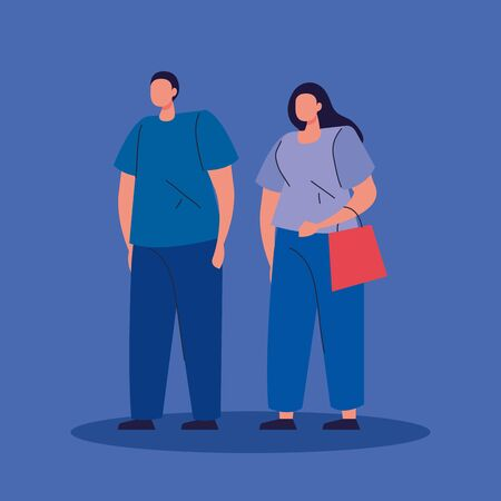 couple with bag shopping avatar character icon vector illustration design