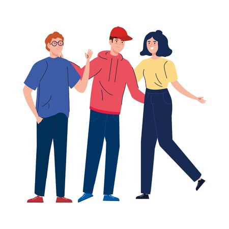 man and women together, happy, people, happiness and friendship, male and female characters vector illustration design Vetores