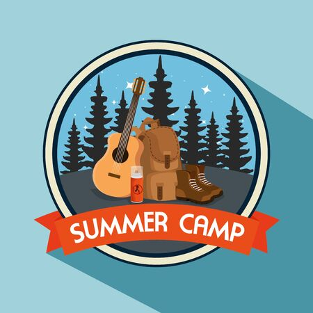 label of pines trees with backpack and boots to summer adventure vector illustration