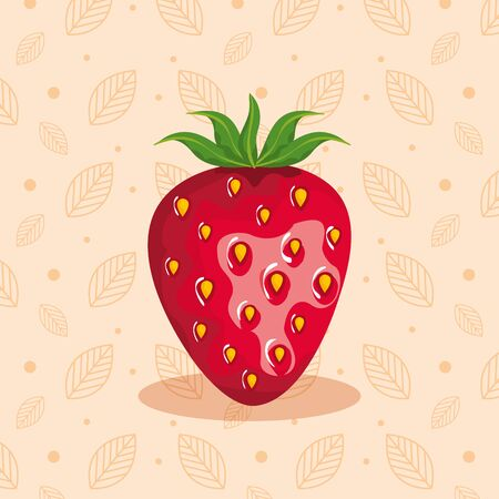 delicious strawberry healthy fruit nutrition over pink with leaves and points background, vector illustration Vettoriali