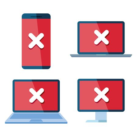 set of icons insecurity and technology error vector illustration design