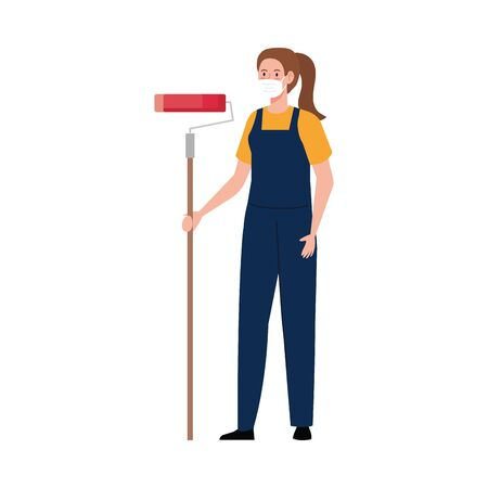 Female painter with mask and apron design, Workers occupation and job theme Vector illustration