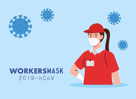 delivery woman with uniform and workermask design of Coronavirus 2019 nCov workers theme Vector illustration