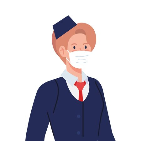 Female stewardess with mask design, Workers occupation and job theme Vector illustration Illusztráció