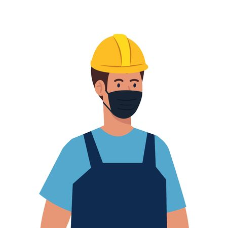 male constructer with mask design, Workers occupation and job theme Vector illustration