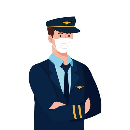 male pilot with mask design, Workers occupation and job theme Vector illustration
