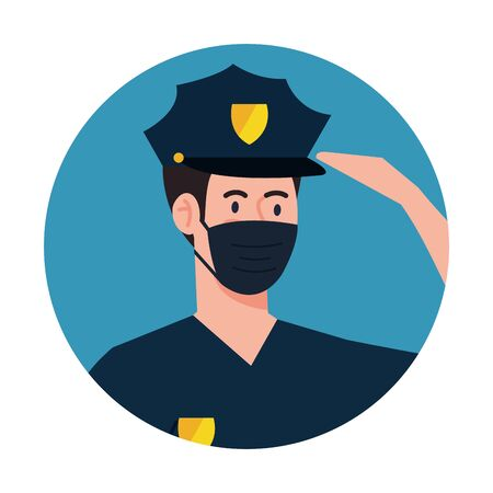 male police with mask design, Workers occupation and job theme Vector illustration